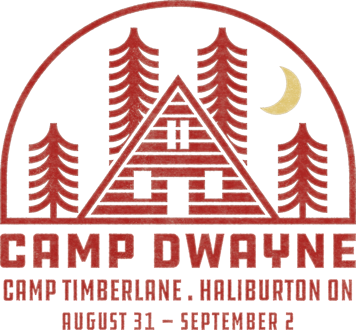 Camp Dwayne Logo Illustration of Log Cabin with Trees and Sunrise